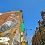 Belgian street artist Roa creates 12m high crane in 8 hours.