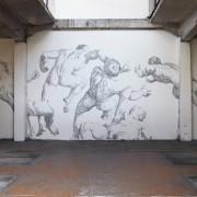 Baptiste Debombourg - AGGRAVURE - Murales di punti metallici