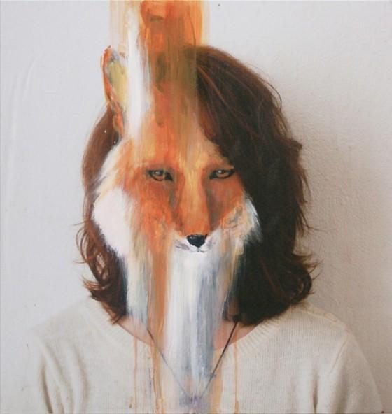 Charlotte Caron, fox, fotografia e acrlico, 90x90 cm, 2011