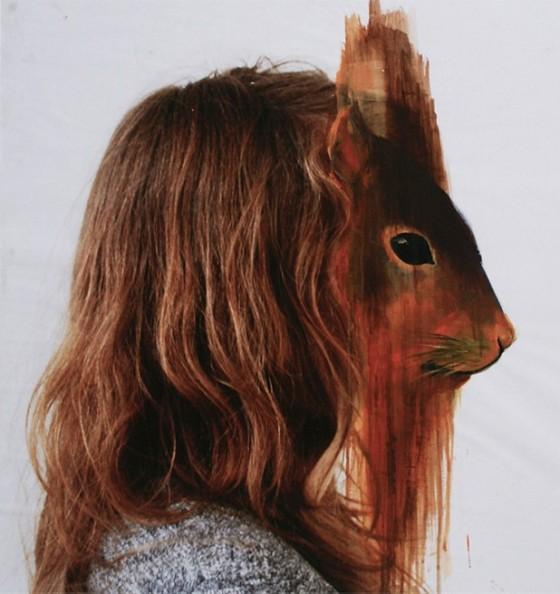 Charlotte Caron, squirrel, fotografia e acrilico, 90x90 cm, 2011