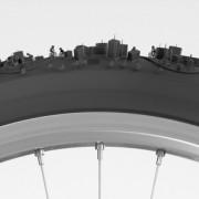 Bike City - Illustrazione 3D di una città attorno a uno pneumatico-evd