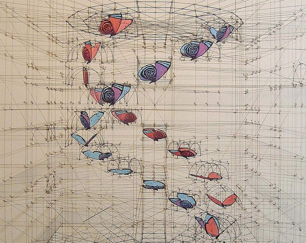 Rafael Araujo - Calculation - Illustrazioni di farfalle e spirali matematiche