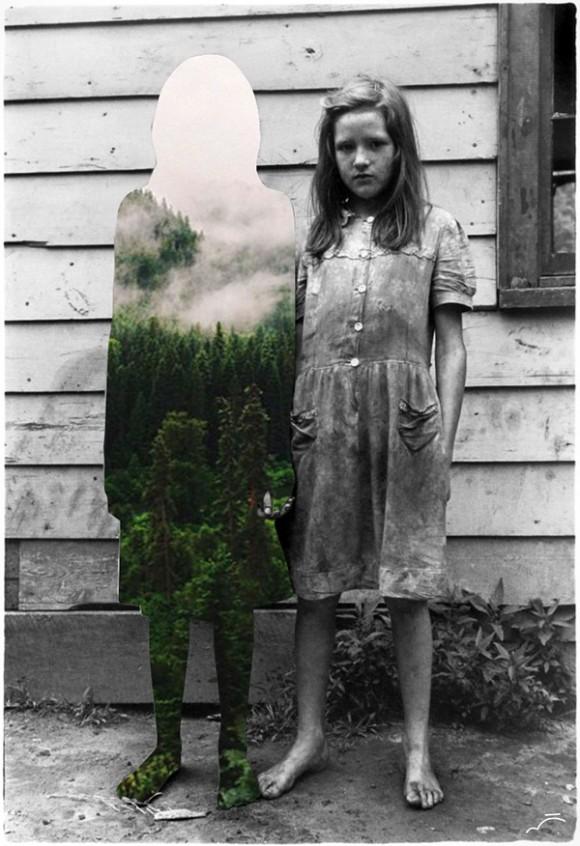 Merve Ozaslan realizza collage con le vecchie foto in bianco e nero