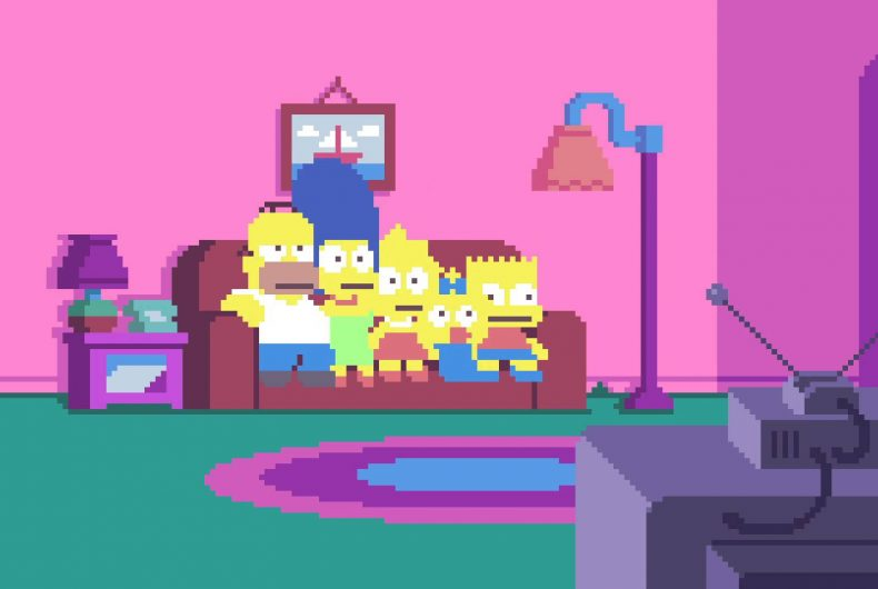 La couch gag dei Simpsons in PIXELS