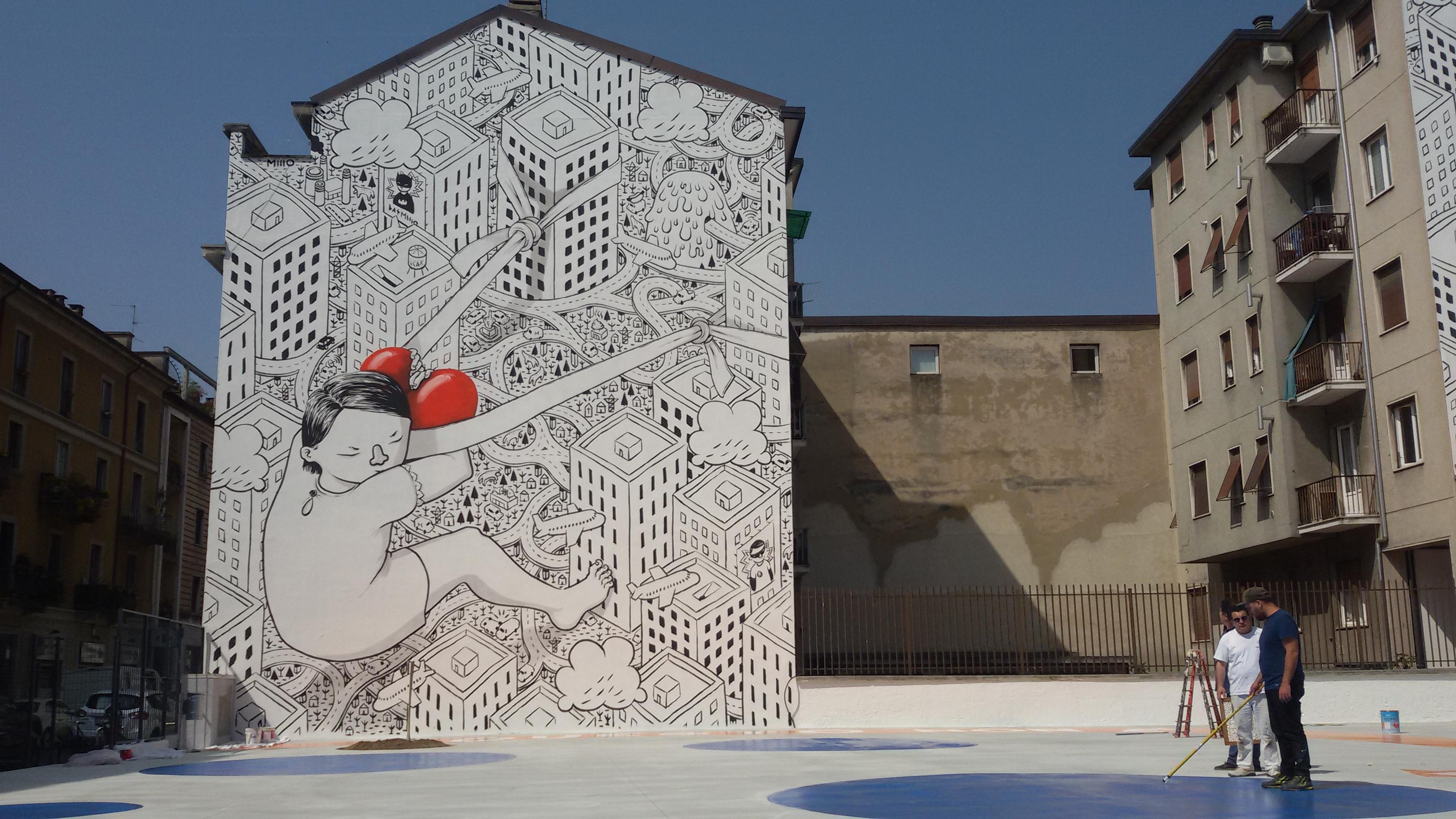 La street art illustrata e romantica di millo for Ristorante murales milano