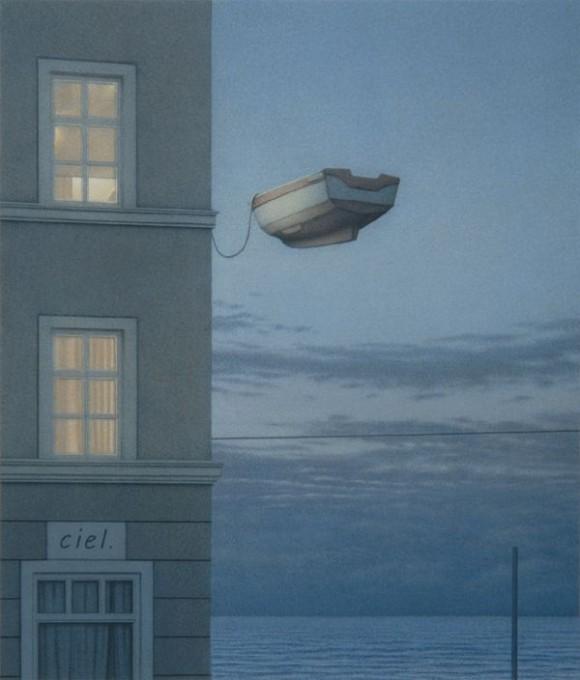 nei lavori di Quint Buchholz  ci si perde nel mondo dei libri