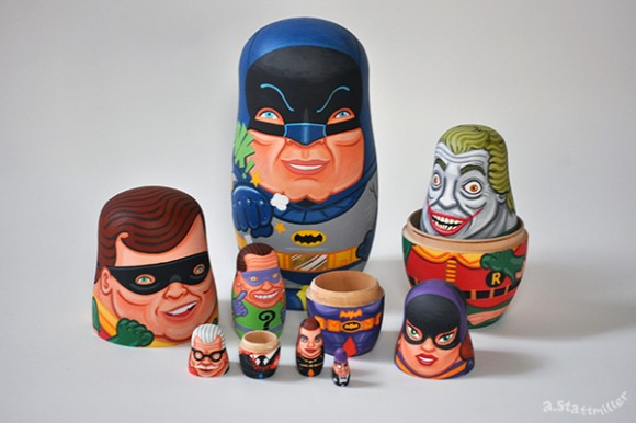 Batman Nesting Dolls. Hand painted by Andy Stattmiller.