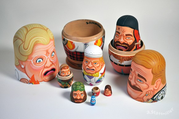 Robin Williams Nesting Dolls. Hand painted by Andy Stattmiller.