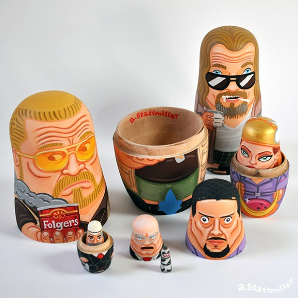 Big Lebowski Nesting Dolls. Hand painted by Andy Stattmiller.
