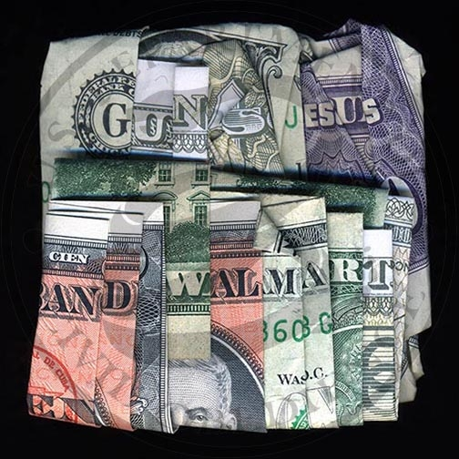 I Dollari parlanti di Dan Tague | Collater.al - Guns Jesus and Walmart (Cuban & US)