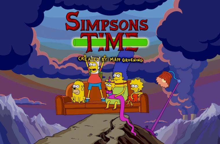 La couch gag dei Simpsons con Adventure Time