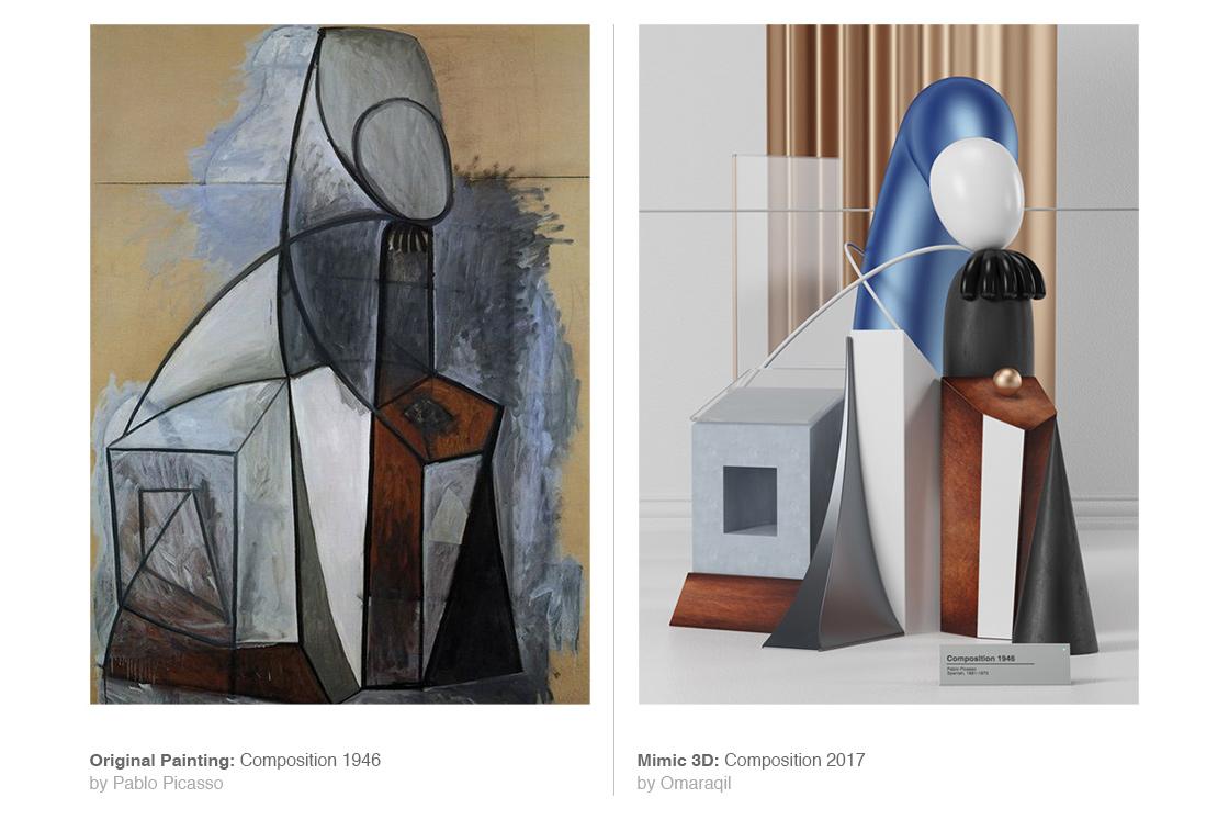 I dipinti di Pablo Picasso in 3D dell'artista Omar Aquil | Collater.al 1