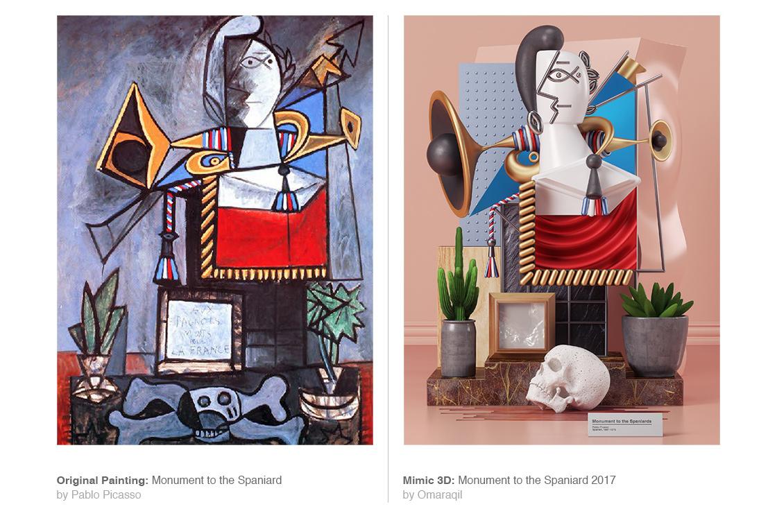 I dipinti di Pablo Picasso in 3D dell'artista Omar Aquil | Collater.al 3