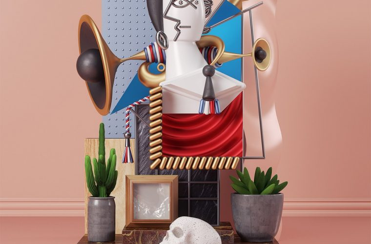 The Pablo Picasso paintings in the 3D sculptures by Omar Aqil