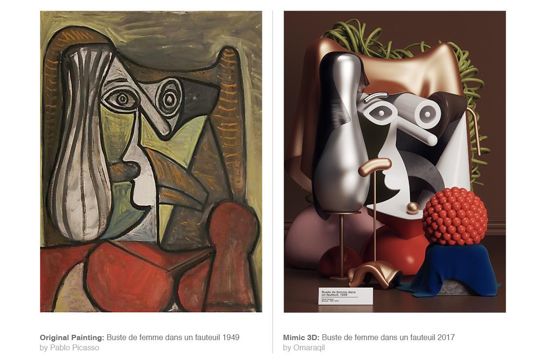 I dipinti di Pablo Picasso in 3D dell'artista Omar Aquil | Collater.al 5