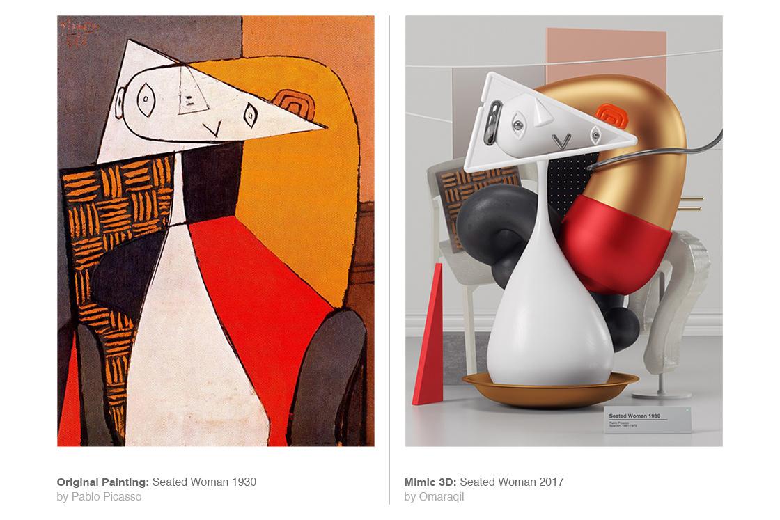 I dipinti di Pablo Picasso in 3D dell'artista Omar Aquil | Collater.al 9