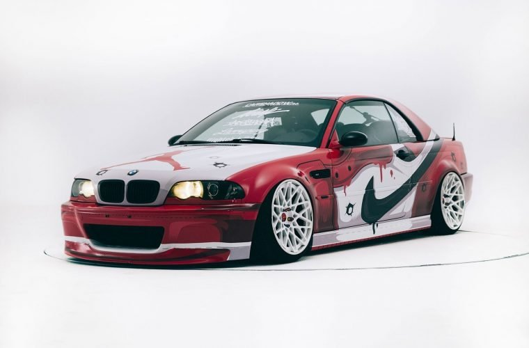 The BMW M3 customized with Nike Air Jordan 1 Chicago color scheme