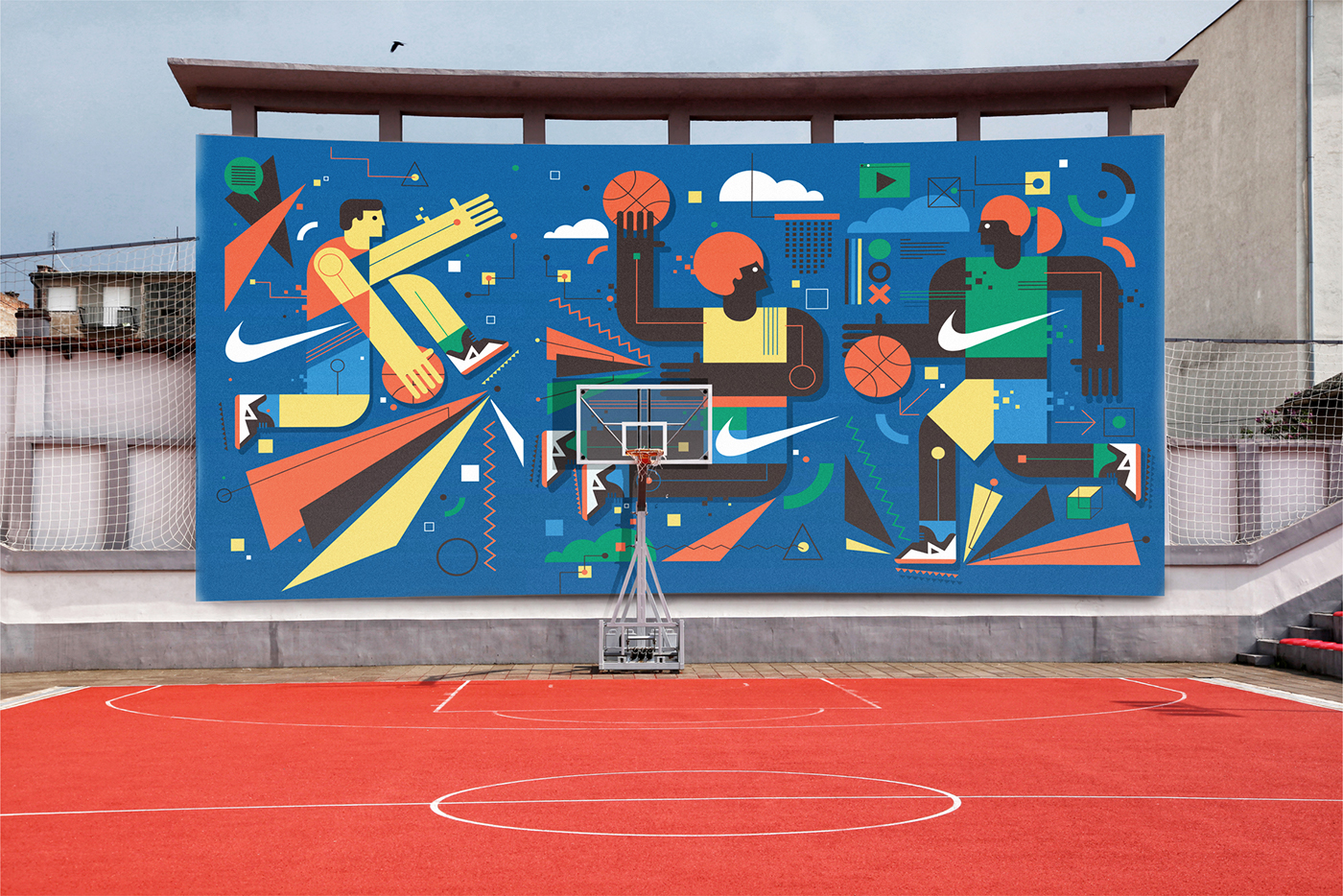 Neil stevens 39 colorfull murals for nike in barcelona for Basketball court wall mural