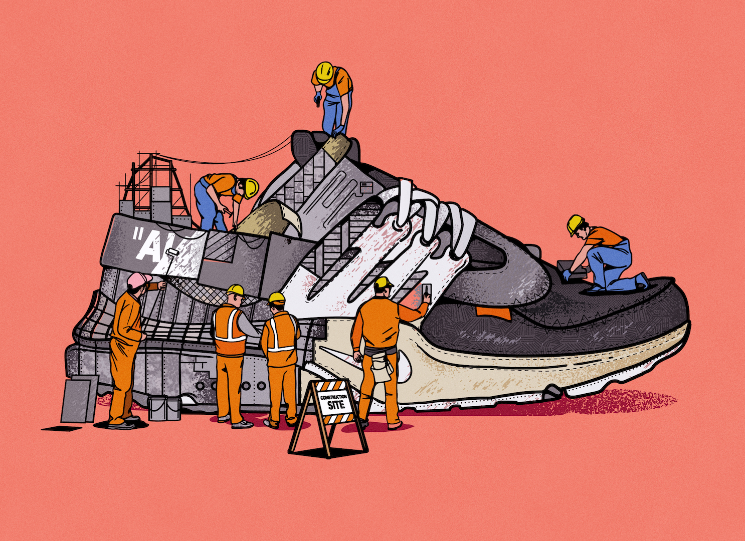 Le sneakers in costruzione illustrate da Musketon | Collater.al 1