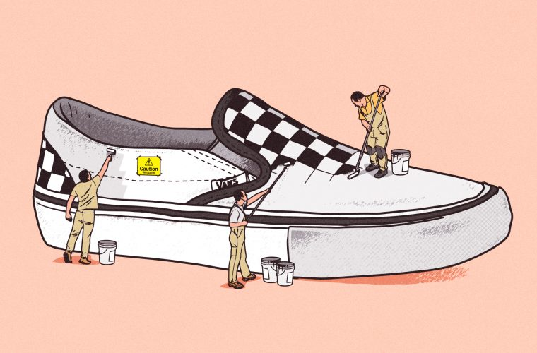 Le sneakers in costruzione illustrate da Musketon