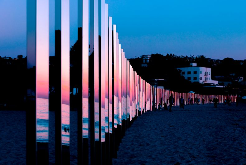 1/4 MILE ARC, Phillip K Smith III installation that reflects the sea