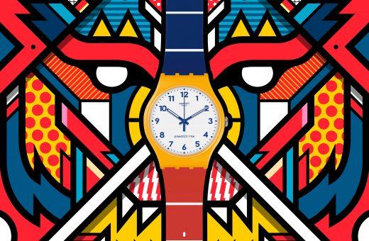 La coloratissima illustrazione di Van Orton per Swatch