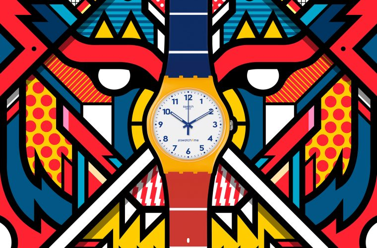 La coloratissima illustrazione di Van Orton per Swatch