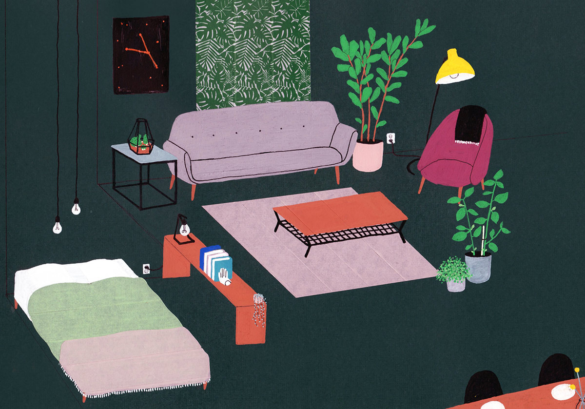 interior design illustrato di Lianne Nixon | Collater.al 3