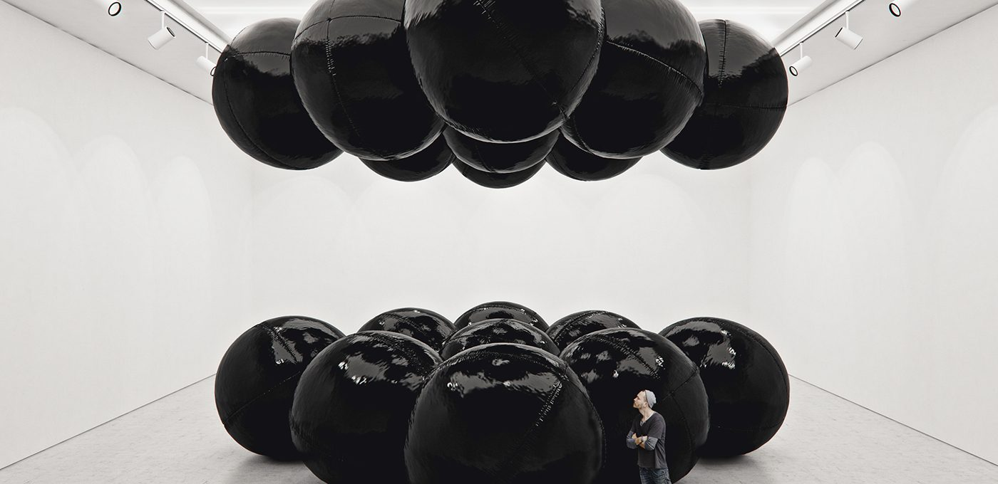 Black Balloons, the hypnotic balance of Tadao Cern's installations