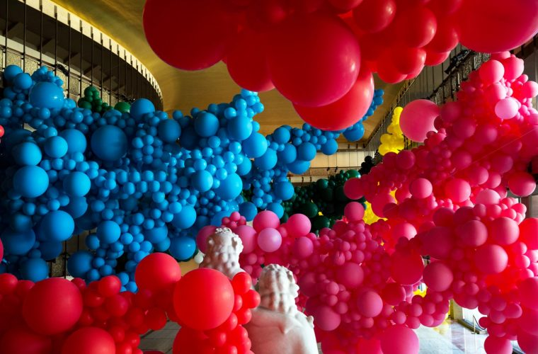 Geronimo's huge balloons installation at Lincoln Center