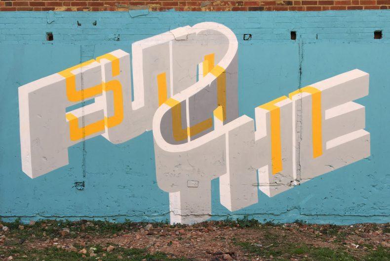 The 3D lettering by street artist Pref