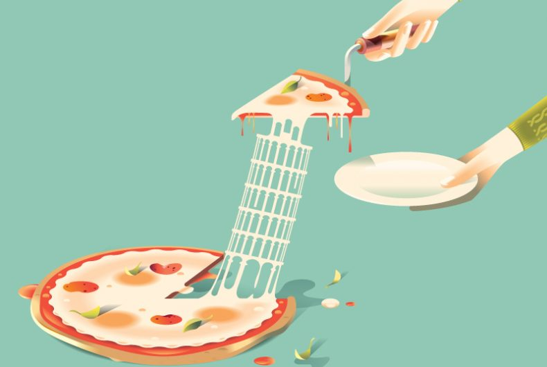 Andrew Nye, in his illustrations food becomes a monument