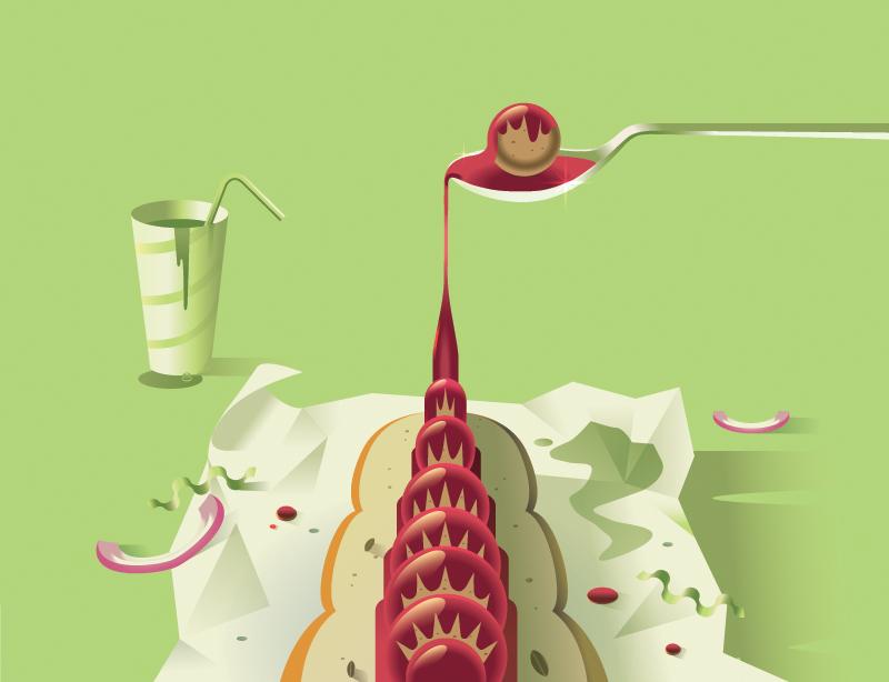 Andrew Nye nelle sue illustrazioni il cibo diventa monumento | Collater.al