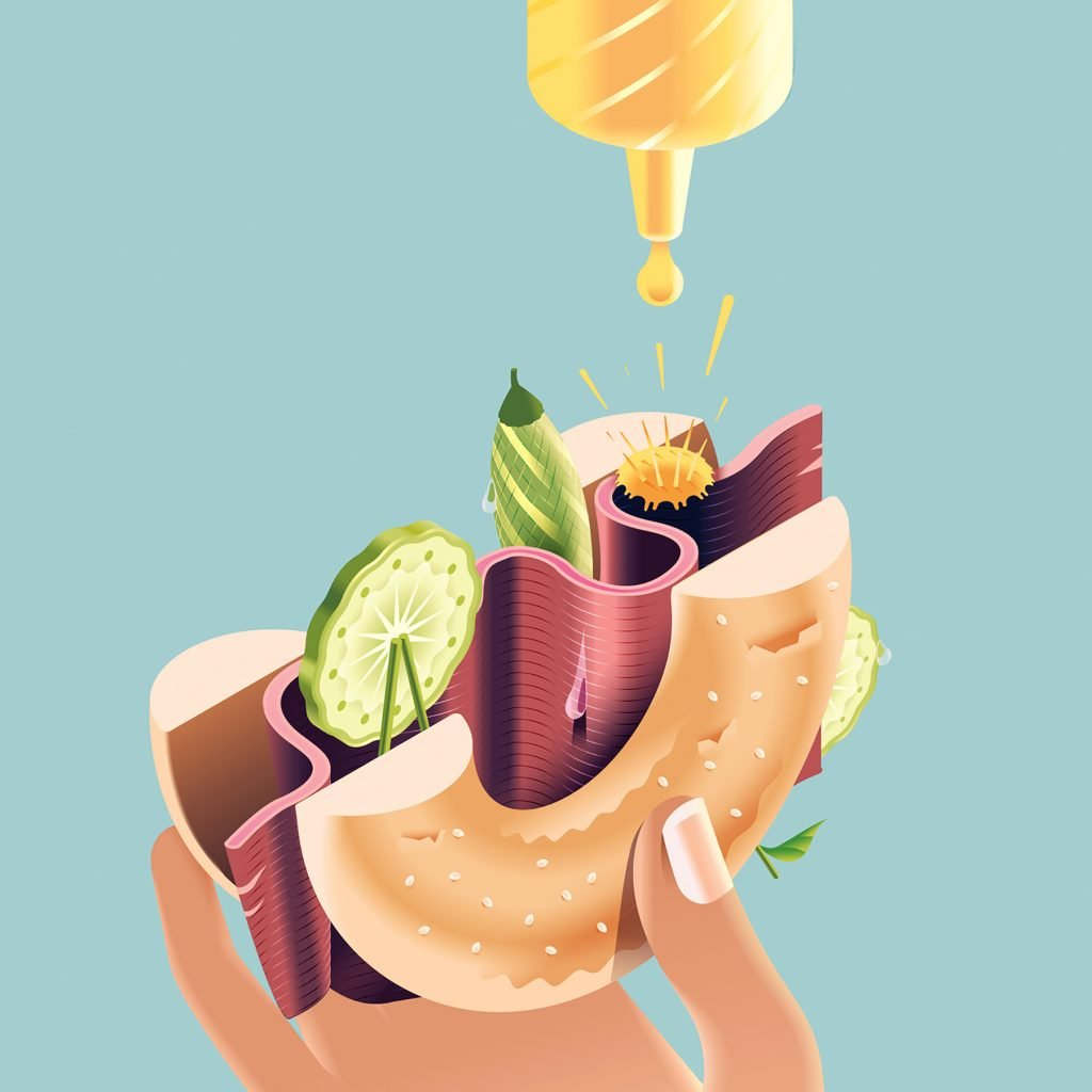 Andrew Nye nelle sue illustrazioni il cibo diventa monumento   Collater.al