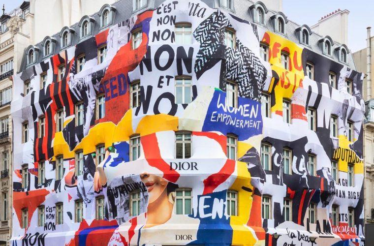 Dior decora la facciata della boutique in Avenue Montaigne