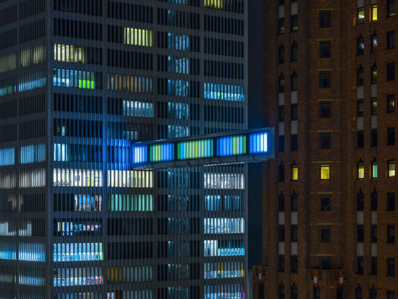 Detroit Skybridge, i blocchi luminosi di Phillip K Smith III