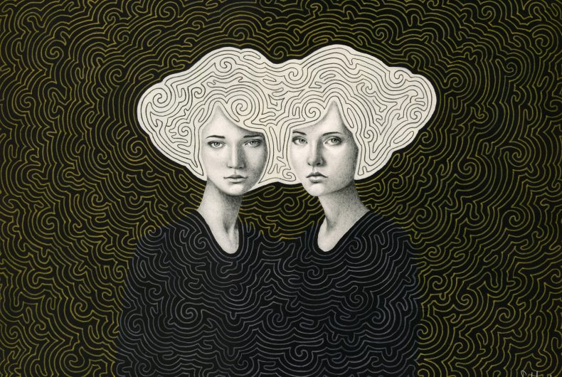 Sofia Bonati tells women on abstract backgrounds