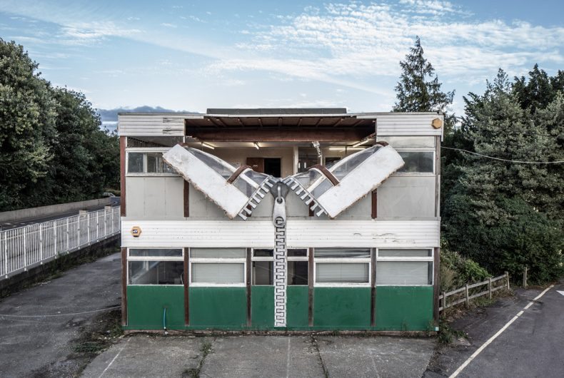 The undressed building by artist Alex Chinneck