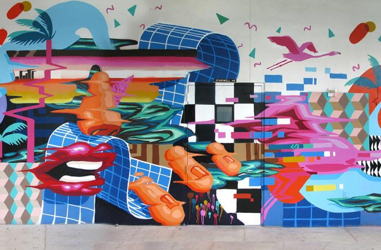 MurOne street art, harmony of colors and shapes