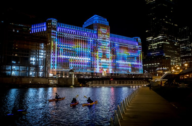 ART ON theMART, artistic projections illuminate Chicago