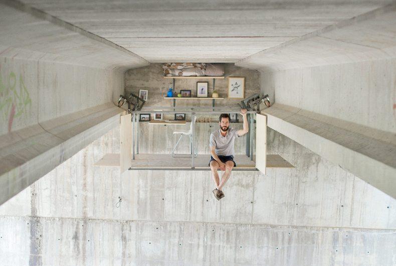 Fernando Abellanas hides a studio under a bridge