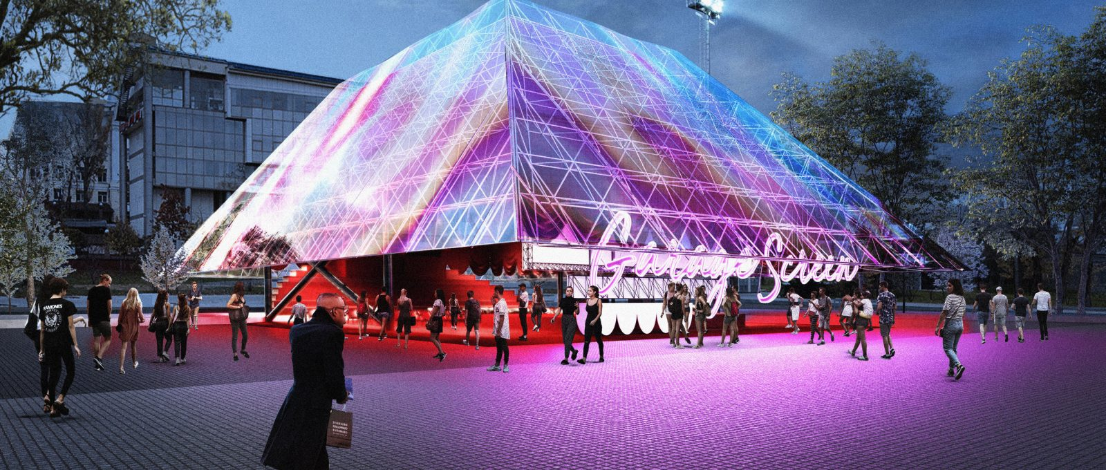 Garage screen, the cinema with holographic facades
