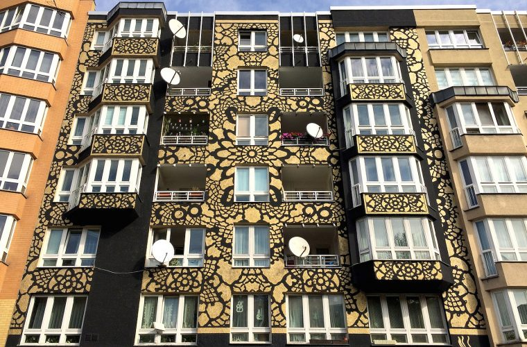 Traditional lace patterns in NeSpoon's street art