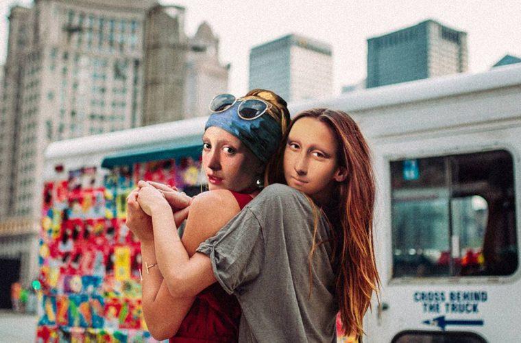 La Ragazza con l'orecchino di perla e Monna Lisa nei collage di Paste in Place