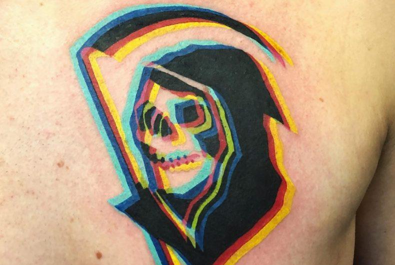 Adam Friedman, double style fluorescent tattoos