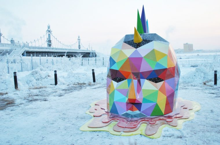 Ancestral Retromirage, Okuda's sculpture in the coldest part of the world