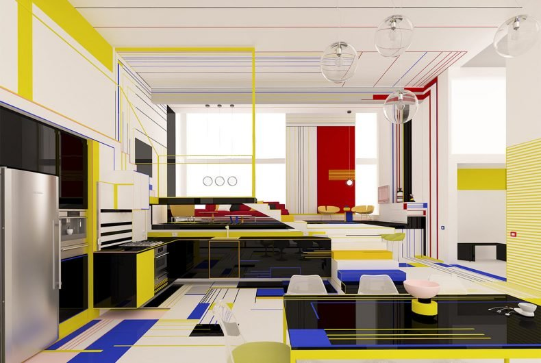 Brani & Desi transforms Mondrian's paintings into apartments