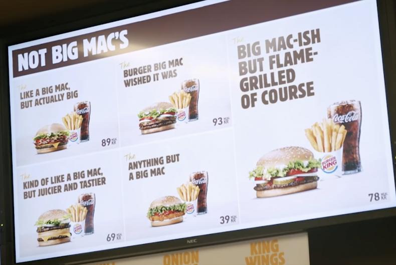 The Not Big Mac's, lo spot di Burger King che deride il re dei panini (e Mc Donald's)