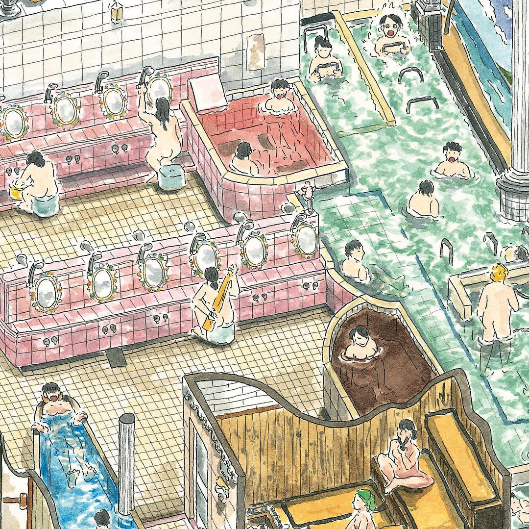 Enya Honami illustra i sentō, i caratteristici bagni pubblici giapponesi