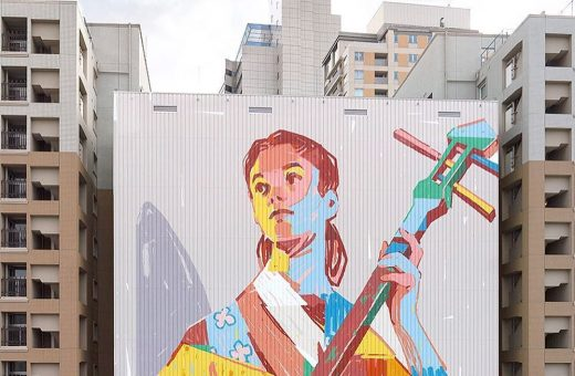 The new mural by Aryz in homage to Tokyo